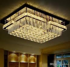 großhandel moderne led rechteckig k9 kristallleuchter licht erröten einfassung led leuchten decke hängende le für wohnzimmer hotelflur llfa