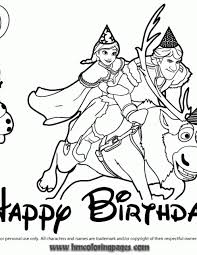 Frozen Characters Birthday Coloring Page
