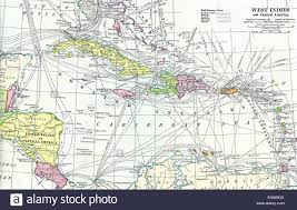 Map Of West Indies At The Time Spanish American War With Mail Steamer Routes