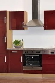 einbauküchenzeile chicago in hochglanz rot mit e geräten