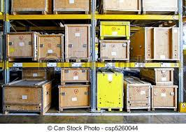 Crates Warehouse Stock Photo