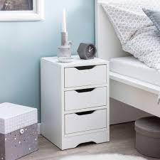 wohnling nachtkonsole wl5 704 31x49x31 cm weiß matt mit 3 schubladen weisse nachtkommode mit stauraum nachttisch schlicht modern