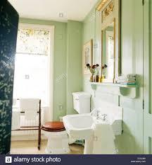pastell grün badezimmer mit weißen sockel waschbecken und