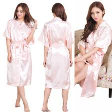 Fashion Womens Solid Silk Kimono Robe For Bridesmaids Wedding Party Night Gowns Bride Robes Bridal Pajamas In From Clothing