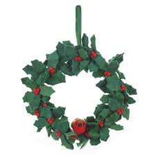 Holly Wreath With Robin Felt Wreath Felted Decorations