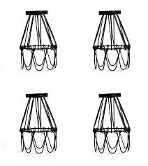 metal cage l guard string light shade open flower ceiling