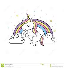 Download Cute Unicorn And Rainbow With Clouds Design Stock Vector