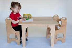 Wooden Kids Table And 2 Chair Set In Birch And Bamboo; Waldorf Children's  Nursery Table, Playroom Table And Chairs