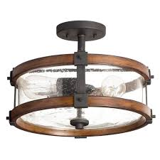 Interesting Rustic Flush Mount Lighting And Ceiling Light Fixtures With Casual Glass Shade Semi