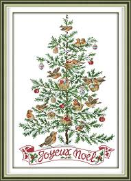 The Christmas Tree With Birds Counted Cross Stitch 11 14CT Set Cartoon