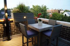 Rooftop Deck With Landscape Lighting BBQ and Outdoor Heater