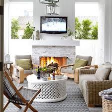 White Brick Outdoor Fireplace Design Ideas