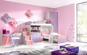 Lovely Loft Beds For Teenagers In Purple And Pink Theme With Shelves Storage Plus Desk