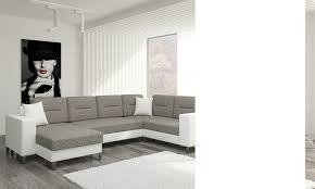 canape angle panoramique canapé angle en pu blanc et en tissu gris ou violet convertible