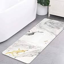 haocoo badteppich läufer 45 7 x 119 4 cm beige marmor samt badvorleger rutschfest modern lang badteppich weiche luxus mikrofaser maschinenwaschbarer