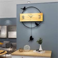 nordic schaukel wanduhr wohnzimmer kreative einfache holz uhr dekoration mute quarz hause uhr