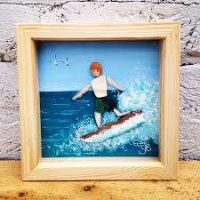Driftwood Christmas Trees Cornwall cornish sea glass pottery driftwood surfer dude in wooden deep box