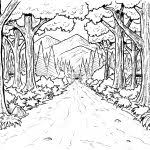 Beautiful Nature Chinese Mountain Landscape Coloring Pages With Animal Trees Also Lake