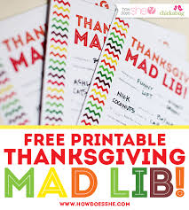 Halloween Mad Libs Free by Free Thanksgiving Printables For Kids Mad Lib Style Everyone