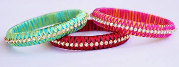 Handmade Criss Cross Silk Thread Bangles