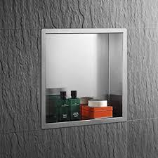 qinisi badezimmer duschnische aus 304 edelstahl mit eingelassener nische 30 5 cm b x 30 5 cm h fertig zum fliesen wasserdicht duschregal