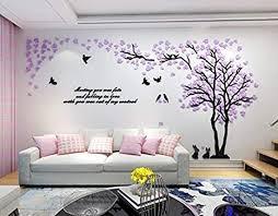 asvert 3d wandtattoo shrinkable acryl wandaufkleber wand dekoration tv sofa hintergrund deko stereo sticker lila blätter muster 2