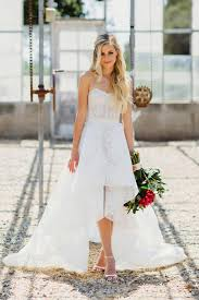 Strapless Lace Bodice High Low Wedding Dresses 1