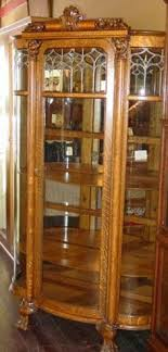 rare rj horner quartered oak diminutive curved glass curio cabinet