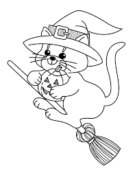 Halloween Witches Coloring Pages Witch Cat