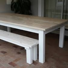 Pine Patio Dining Table And Two Benches In Whitewash White Stain