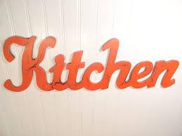 Kitchen Word Wall Sign Decor Burnt Orange Shabby