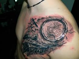 Awesome Grey Ink Dreamcatcher Tattoo On Man Collarbone
