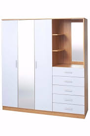 Brand New Oak High Gloss White bi Unit 3 door Wardrobe 5