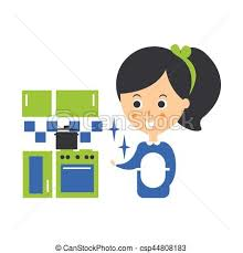Cleanup Service Maid And Clean Kitchen Cleaning Company Infographic Illustration