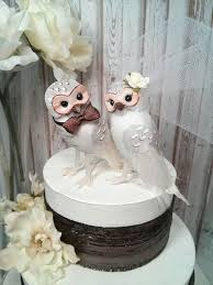 SALE Chic Wonderful White And Brown Barn Owls Wedding Cake Topper
