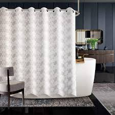 großhandel jarl home hotel khaki stoff duschvorhang für badezimmer jacquard thick polyester wasserdicht hookless gardinen rod mit großem plastikring