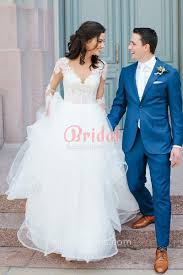 Illusion Lace And Flounced Tulle Long Sleeve V Neckline Rustic Ball Gown Wedding Dress 1