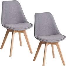 deuline 2x esszimmerstühle esszimmerstuhl küchenstuhl sgs zertifiziert massivholz beine polsterstuhl retro design stühle lehnstuhl oslo grau