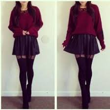Skirt Skater Leather Sweater With Suspenders Black Suspender Tights Shoes Underwear Would Wear Different Tho
