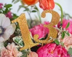 GOLD GLITTER Or WOOD Table Numbers For Weddings