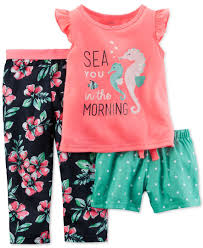 carter u0027s toddler girls u0027 sea you in the morning 3 piece pajama set