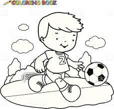 Coloring Book Kid Playing Football Royalty Free Stock Vector Art
