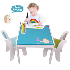 Labebe Wooden Activity Table, Blue Hedgehog Child Table And Chair For 1-5  Years Old, Blue Table/Baby Play Table/Toddler Table/Wooden Dining Table/Kid  ...