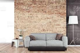 leeres wohnzimmer mit sofa ziegelwand stockfoto und mehr bilder altertümlich