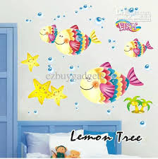 Wall Art Design Ideas Colorful Fishes For Kids Home Decorations Simple Vinyl Cartoon