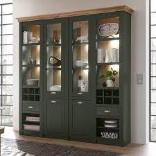buffetschrank im landhausstil cincinnati 61 in grün mit wotaneiche inkl led b h t 194 207 45cm