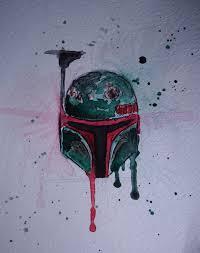 Boba Fett Helmet Pumpkin Stencil by Boba Fett Helmet Star Wars Original Watercolor Painting