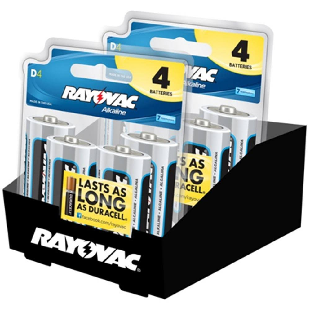 Rayovac D Alkaline Batteries - 4pcs