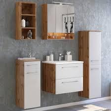 badezimmer midischrank louny 03 in wotaneiche nb mit matt weiß b h t ca 30 130 35 cm