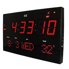 Extra Large Atomic Red LED Wall Clock W Auto Time Set Brightness